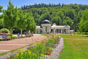 Promenade with flower discounts in the spa facilities, Marienbad, spa triangle, Bohemia, Czech Republic