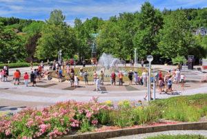 Singing fountain in the spa area, Marienbad, spa triangle, Bohemia, Czech Republic