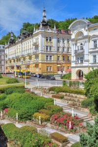 Typical hotel in the spa area, Marienbad, spa triangle, Bohemia, Czech Republic