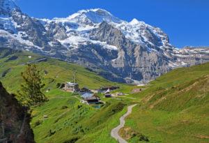Kleine Scheidegg with Jungfrau massif (4158m), Wengen, Jungfrau region, Bernese Oberland, Canton of Bern, UNESCO World Heritage Site, Switzerland
