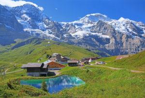 Kleine Scheidegg with Mönch (4107m) and Jungfrau massif (4158m), Wengen, Jungfrau region, Bernese Oberland, Canton of Bern, UNESCO World Heritage Site, Switzerland