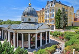 Cross fountain in the spa center, Marienbad, spa triangle, Bohemia, Czech Republic