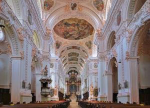 Interior of the monastery church, collegiate basilica, Waldsassen, Upper Palatinate, Bavaria, Germany