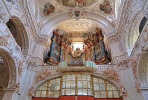 Organ gallery of the monastery church, collegiate basilica, Waldsassen, Upper Palatinate, Bavaria, Germany