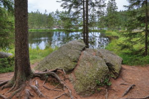 Fichtelsee with rocks on the shore, Fichtelberg, Fichtelgebirge, Upper Franconia, Franconia, Bavaria, Germany