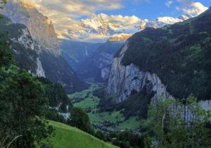 Lauterbrunnen valley with Breithorn (3780m) in the evening sun, Wengen, Jungfrau region, Bernese Oberland, Canton of Bern, UNESCO World Heritage Site, Switzerland