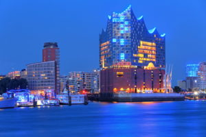Elbphilharmonie on the Elbe island Grasbrook in Hafencity at the harbor, Hamburg, Hamburg State, Germany, dusk