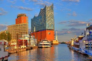Elbphilharmonie on the Elbe island Grasbrook in the Hafencity at the harbor, Hamburg, Hamburg State, Germany, evening sun