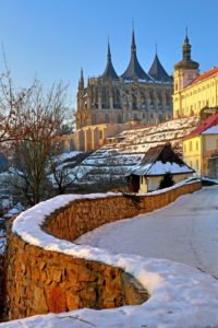 Footpath on the vineyard with Jesuit College and Barbara Church, Kutna Hora, (Kutna Mountain), Central Bohemia, Bohemia, Czech Republic, UNESCO World Heritage Site