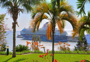 View from Santa Catarina Park on the harbor with cruise ship 'Mein Schiff 2', Funchal, Madeira Island, Portugal