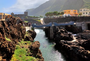 Inlet in lava rock at the place, Porto Moniz, Madeira island, Portugal