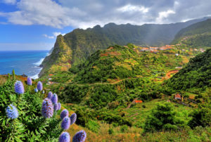Cliff coast on the north side at Boaventura, Madeira Island, Portugal