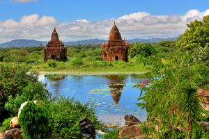 Small pond with stupas in the 'Plain of 2000 pagodas', historical royal city Bagan, Myanmar