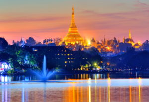 Kandawgyi Lake with the Shwedagon Pagoda, Yangon, Myanmar