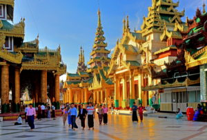 Temple and shrines on the marble platform of Shwedagon Pagoda, Yangon, Myanmar
