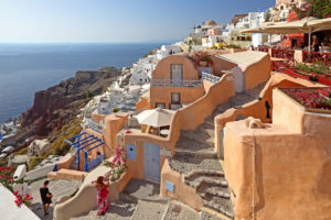 Village view on the slope of the cliff coast, Ia, (Oia), Santorin, (Thira), Cyclades, Aegean Islands, Aegean Sea, Greece