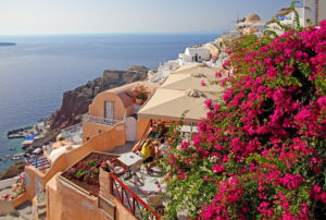 Village view on the hillside above the caldera, Ia, (Oia), Santorin, (Thira), Cyclades, Aegean Islands, Aegean Sea, Greece
