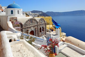 Church on the hillside above the Caldera, Ia, (Oia), Santorin, (Thira), Cyclades, Aegean Islands, Aegean Sea, Greece
