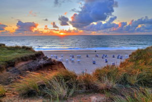 Sunset over the beach at the Rotes Kliff, Kampen, North Sea island, Sylt, North Frisian Islands, North Frisia, Schleswig-Holstein, Germany