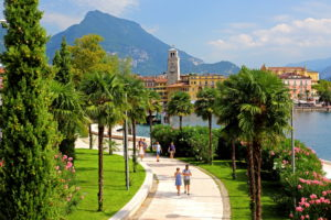 Lake promenade of the town, Riva del Garda, Lake Garda, Lombardy, Northern Italy, Italy