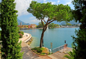 Lake promenade and waterfront of the town, Riva del Garda, Lake Garda, Lombardy, Northern Italy, Italy