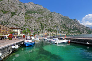 Lake promenade with marina, Limone sul Garda, Lake Garda, Lombardy, northern Italy, Italy
