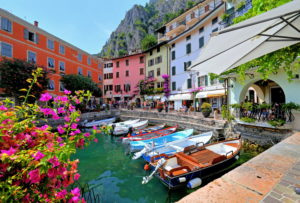 Old boat harbor in the town center, Limone sul Garda, Lake Garda, Lombardy, Northern Italy, Italy