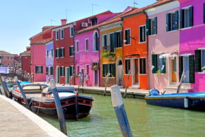 Canal with colorful houses, fisherman island Burano in the lagoon of Venice, Venice, Veneto, Italy