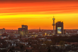 Hannover, town overview in the sundown of the town park hotel in the HCC