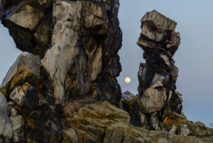 Nature reserve Harz, the devil's wall in the moonlight