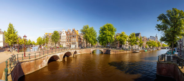 Amsterdam panorama of Keizersgracht, Netherlands