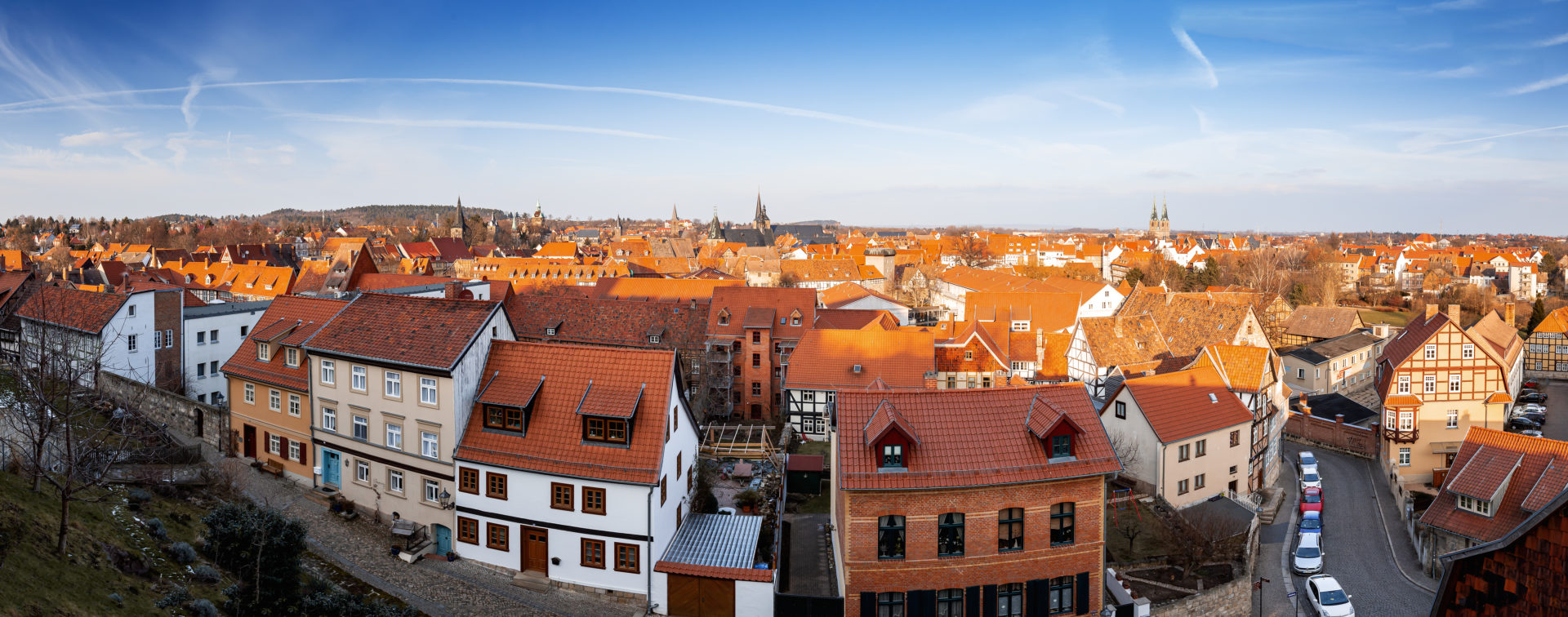 Panorama of Quedlinburg in the Harz Mountains, Saxony-Anhalt, Germany