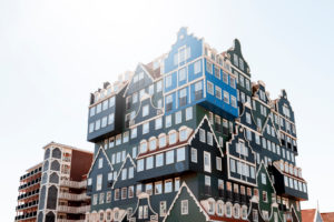 Hotel with exceptional architecture in Zaandam near Amsterdam, Netherlands