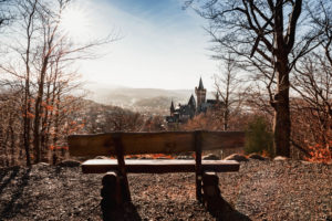 Wernigerode from above with castle and view to the Brocken, Saxony-Anhalt, Germany