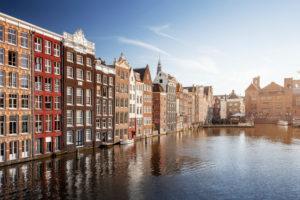 Houses on Damrak in Amsterdam, the Netherlands