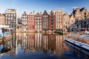 Houses on Damrak in Amsterdam, the Netherlands