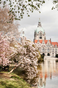 Spring at the New Town Hall in Hanover, Lower Saxony, Germany