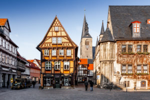 Market square in Quedlinburg in the Harz Mountains, Saxony-Anhalt, Germany