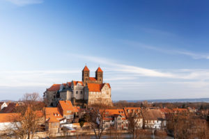 Quedlinburg Castle in the Harz Mountains, Saxony-Anhalt, Germany