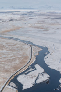 Iceland, bird's-eye view, Ölfusa, river close Selfoss in the winter