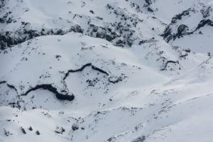 Iceland, bird's eye view, in winter, snow-covered lava fields