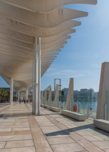"One day in Malaga; Impressions from this city in Andalusia, Spain. The beautiful modern boulevard promenade ""El Palmeral de las Sorpresas"" by architect Jerónimo Junquera."