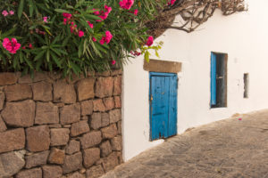 Sicily - Sunny impressions of the Aeolian Islands, also known as Aeolian Islands or Isole Eolie: Lipari, Stromboli, Salina, Vulcano, Panarea, Filicudi and Alicudi. Blue wooden doors and oleanders on the roadside in Panarea.