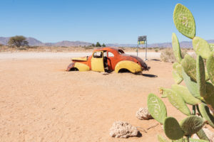 A jeep tour through Namibia, wildlife, country and people. Car wreck at Solitaire.