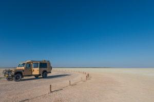 A jeep tour through Namibia. Stopover in the Etosha salt pan