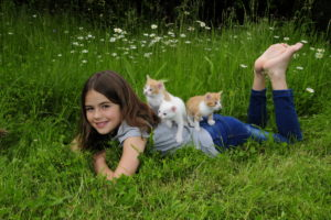 Girl lies face down on a meadow with three kittens on the back