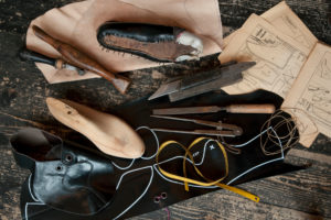 Shoemaker's workshop, accessories to make a handcrafted shoe, still life