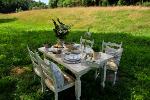 laid white dining table on a summer meadow