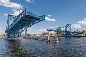 Open northern wing of the Kaiser-Wilhelm-Brücke (bridge) in Wilhelmshaven, Lower Saxony, Germany, Europe