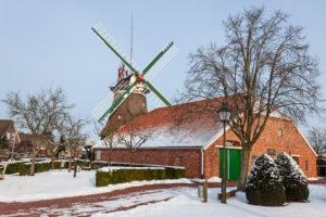 Winter mood, Accum mill in Accum, part of town Schortens, district Friesland,